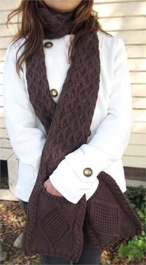 vegan/ faux wool pocket scarf