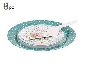 Set di 6 piatti da dessert con piatto da presentazione e paletta Candy