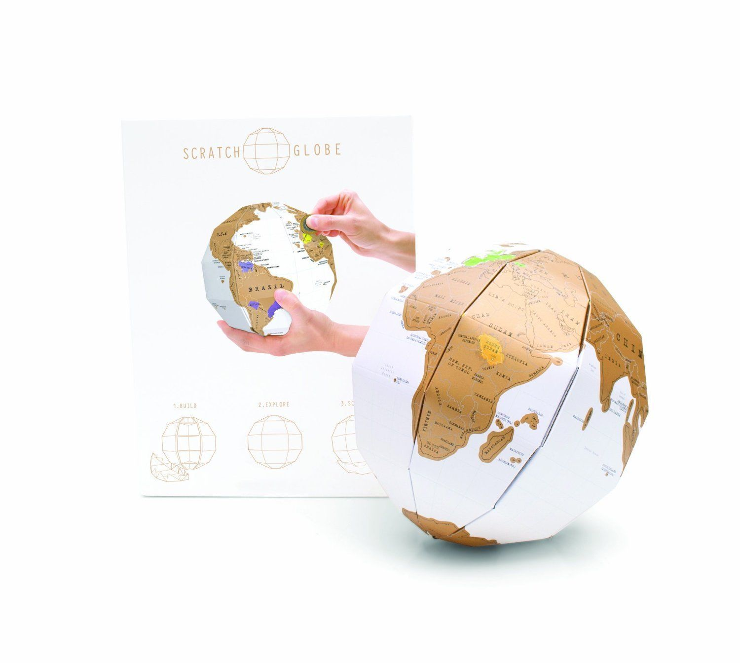 7 29 GBP Scratch World 3D Globe Map Where You Have Been Uk Seller