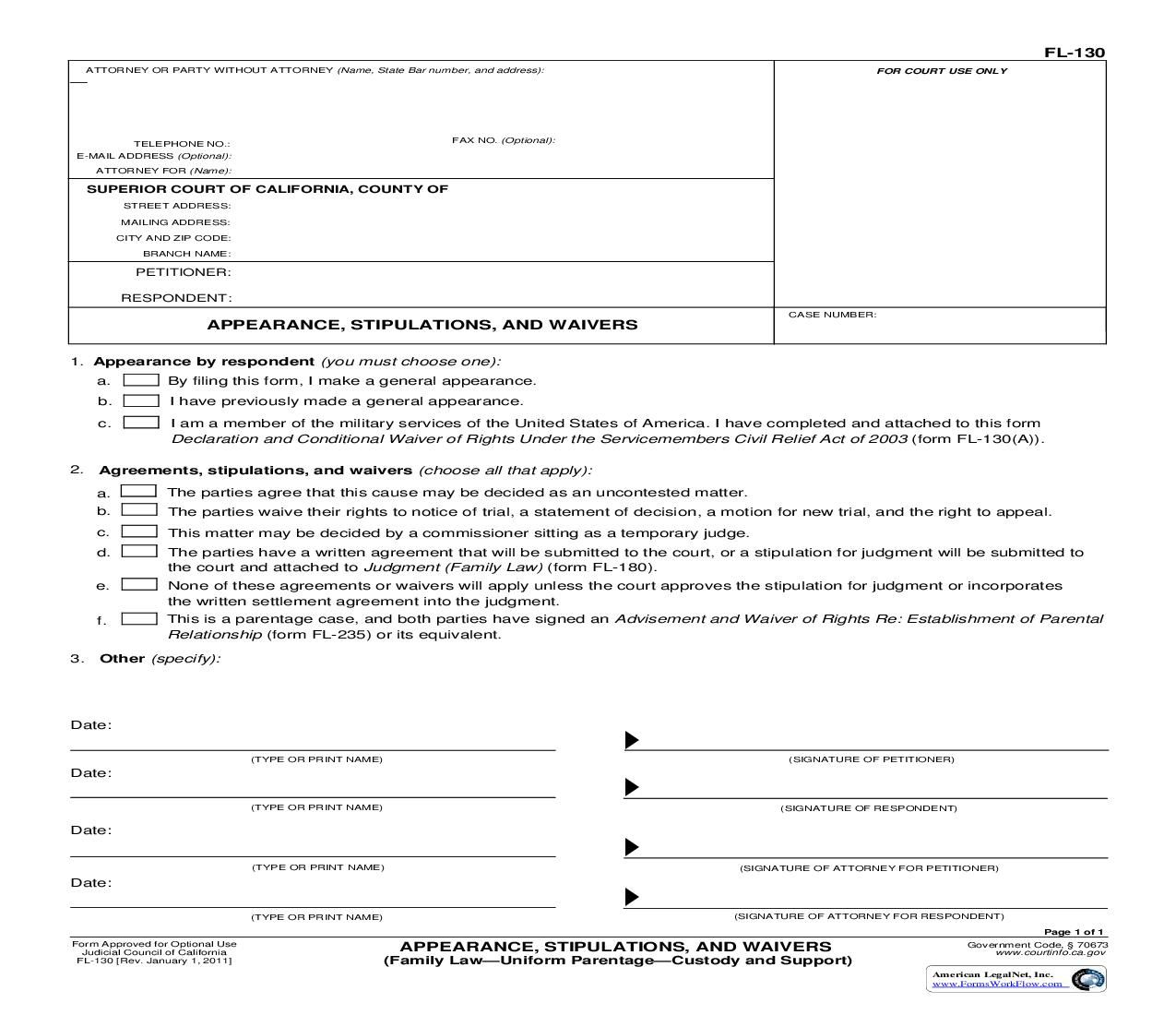 This Is A California Form That Can Be Used For Family Law