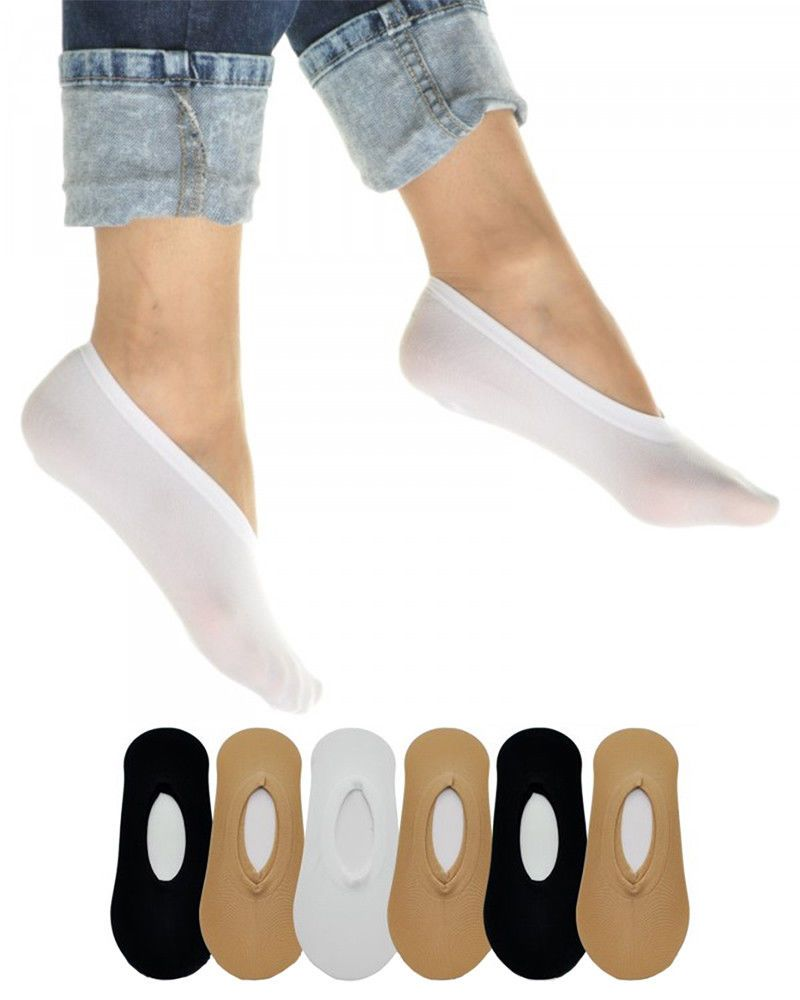 3cd245016 6 Pairs Women's No Show Liner Socks - White, Black, Beige Peds ...
