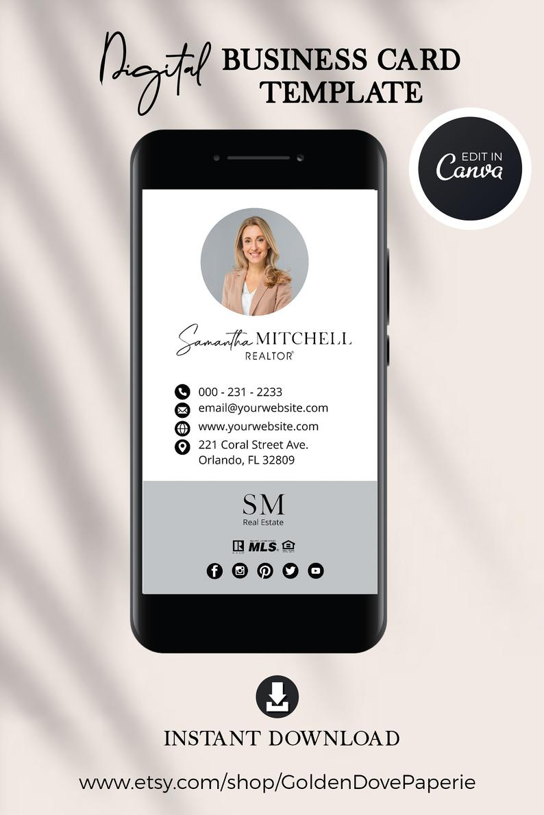 Digital Business Card Canva Template Real Estate Business Etsy In 2021 Digital Business Card Realtor Business Cards Photo Realtor Business Cards