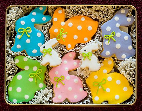 So cute great packaging for a gift bake sale easter this easter bunny sugar cookie gift tin includes 20 hand decorated sugar cookies in bunny shapes each frosted in a pastel color and adorned with polka dots negle Images