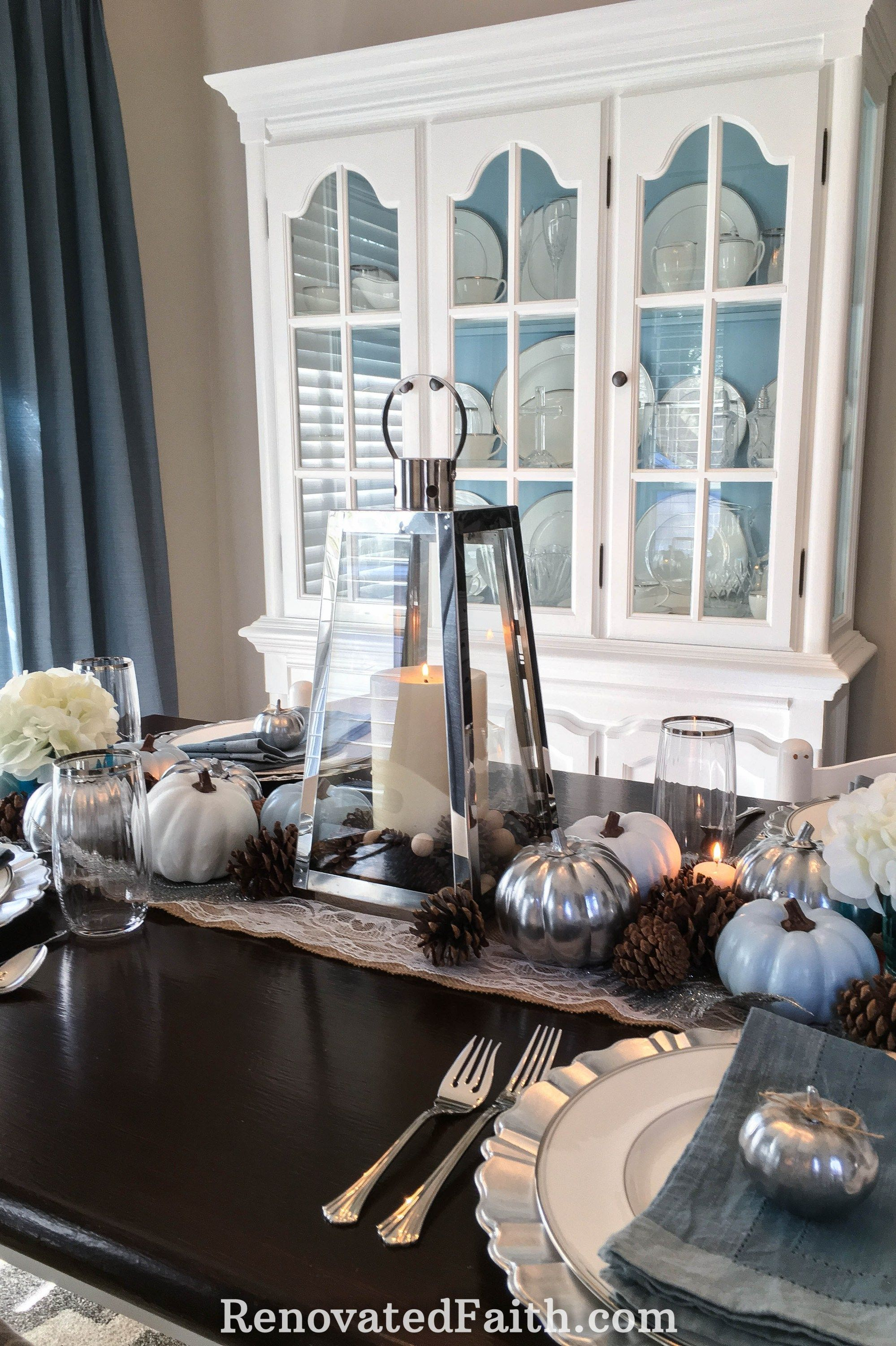 DIY Thanksgiving Tablescape with Blue Pumpkins When God Changes