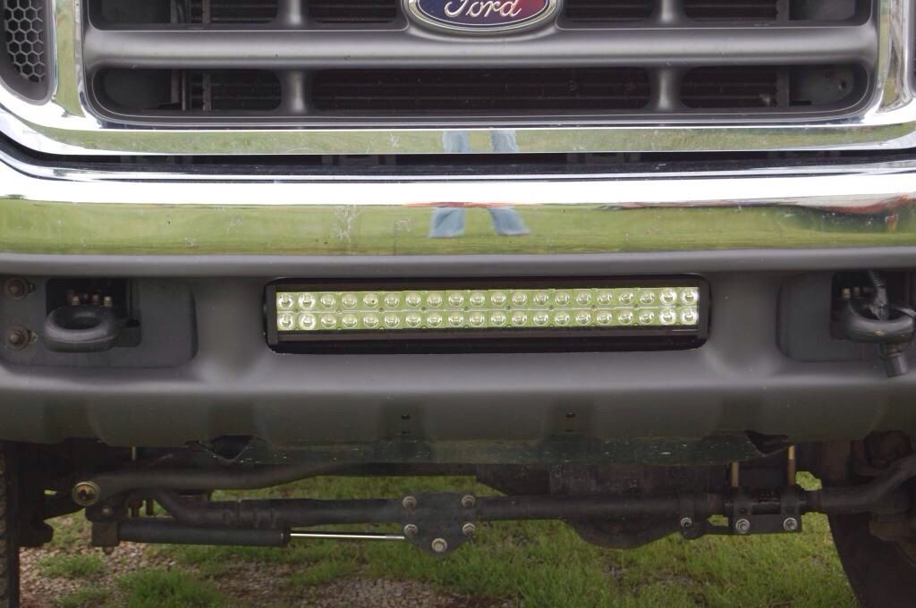 A Ford F250 With A 21 Performance Series Led Light Bar Mounted In The Bumper From Bean Led Industries Led Light Bar Mounts Truck Accessories Cars Trucks