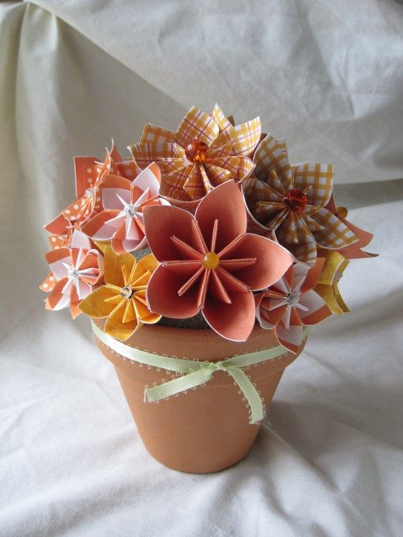 Items similar to Paper flower centerpiece in terra cotta pot on Etsy