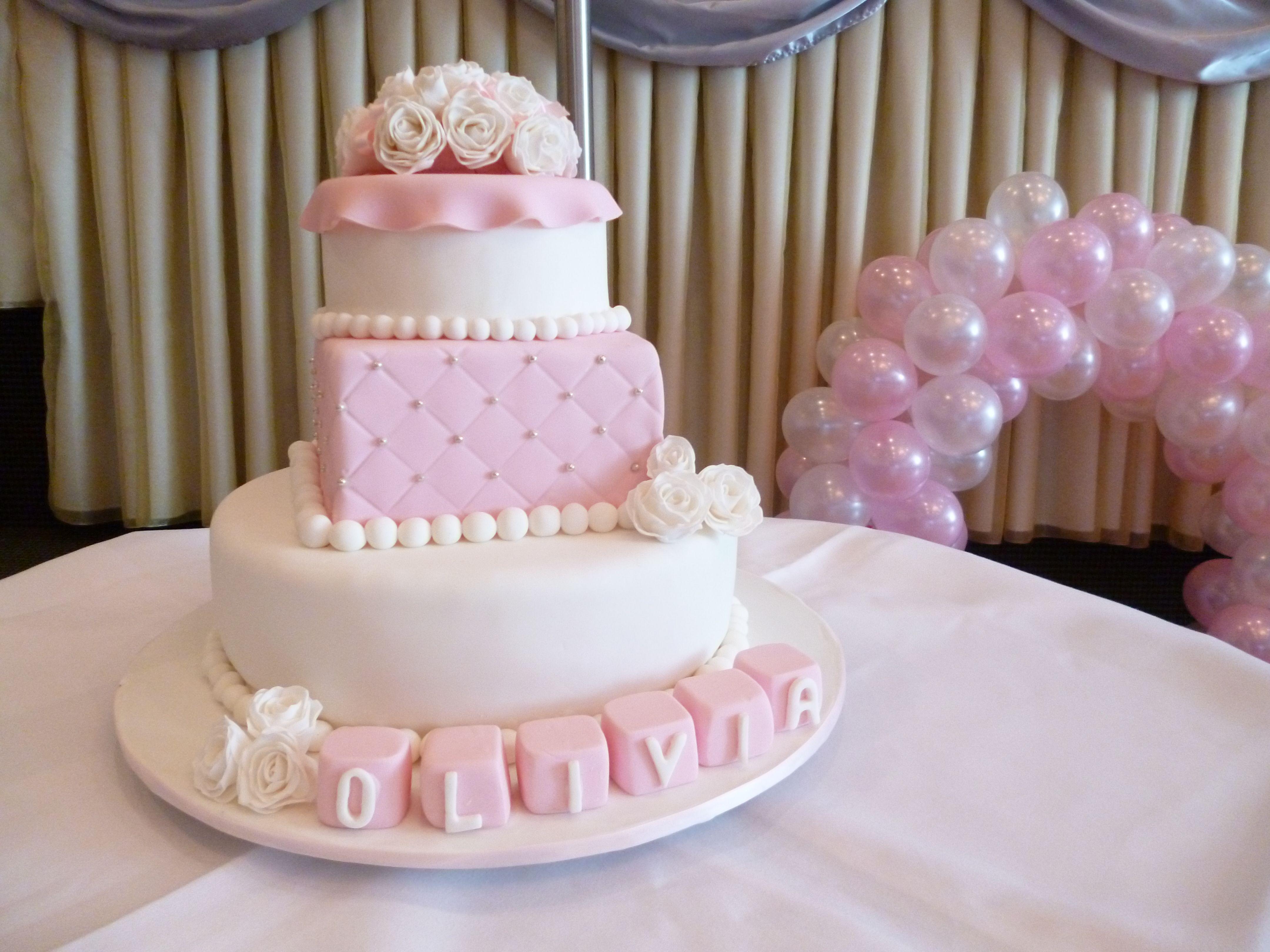 Birthday Cakes For Baby Girl ~ Christening 1st birthday cake i made for a girl! so cute! handmade