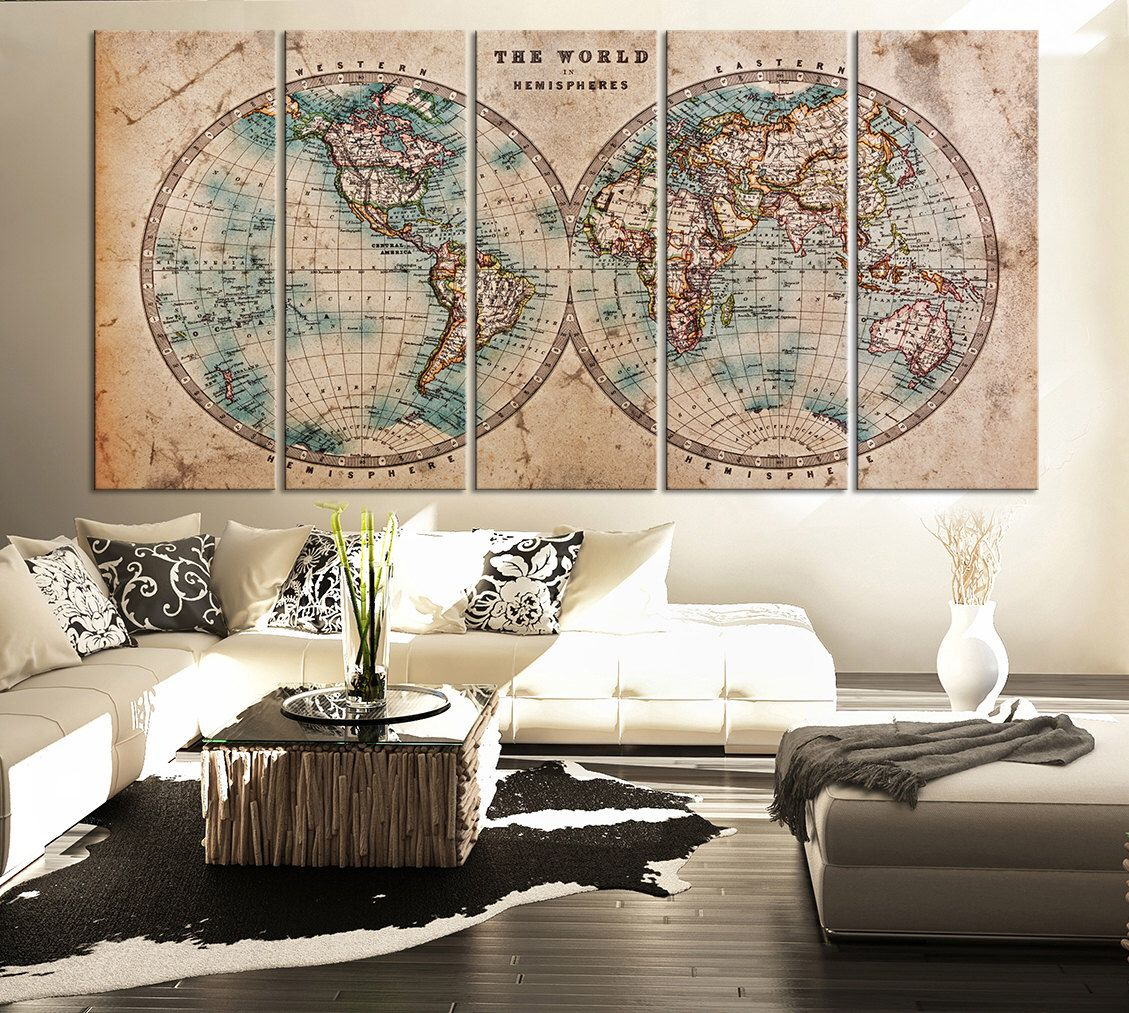 Large vintage world map canvas print art antique world map canvas large vintage world map canvas print art antique world map canvas 5 piece canvas art gumiabroncs Image collections