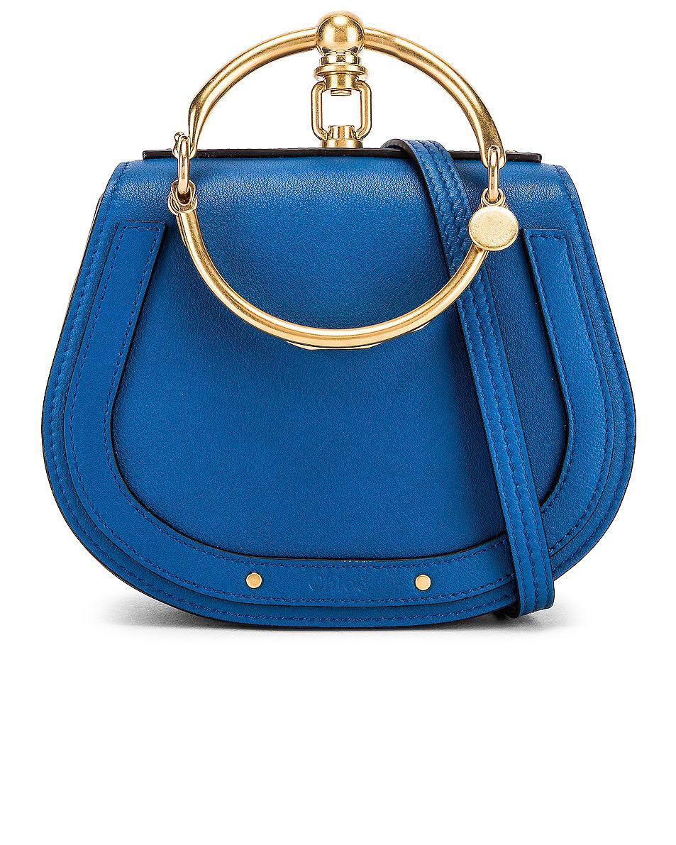 a8eb7ac282 Chloe Small Nile Calfskin & Suede Bracelet Bag in Smoky Blue | FWRD ...