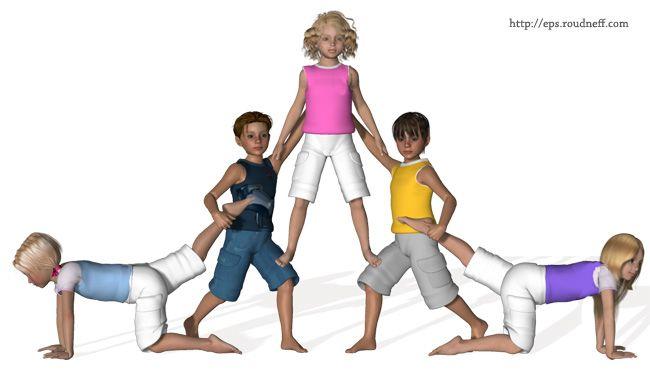 Pyramides et figures du0026#39;acrosport en 3D - *Acrosport en primaire - Pyramides u00e0 5 : Gym ...
