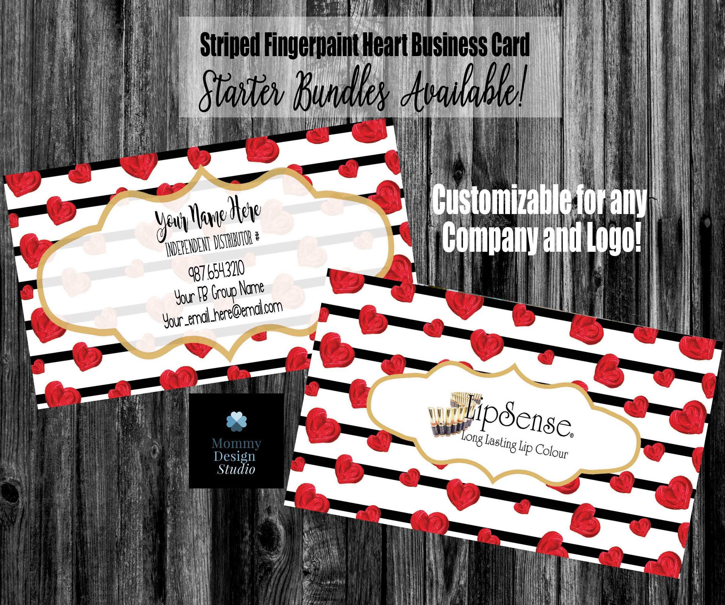 Black Striped Red Hearts Lips Business Card - Lipstick Business Card ...