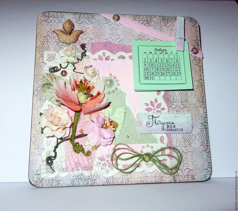 """Купить Календарь-магнит """"Пусть всё сбывается"""" - бледно-розовый, календарь, календарь ручной работы"""