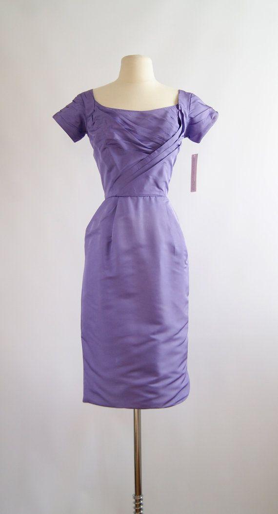 Vintage 50s Ceil Chapman Lilac Wine Silk Cocktail Dress ~ 1950s Ceil ...