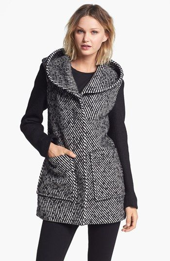 Soia & Kyo Hooded Colorblock Tweed Coat available at #Nordstrom