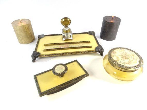 Antique Desk Set French Desk Set Ink Well by VintageLittleGems - Antique Desk Set - French Desk Set - Ink Well - Antique Blotter