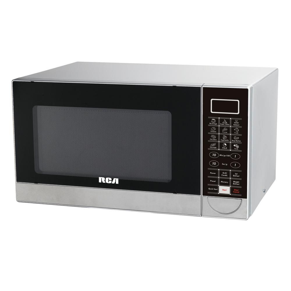 Rca 1 1 Cu Ft Countertop Microwave In Stainless Steel