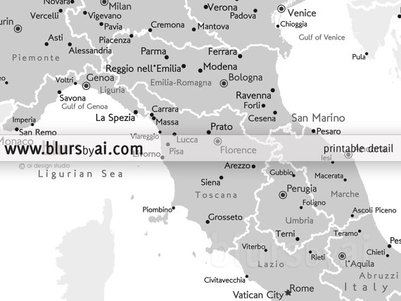 "8x10"" & 16x20"" Printable map of Italy Italy map with cities Italia"