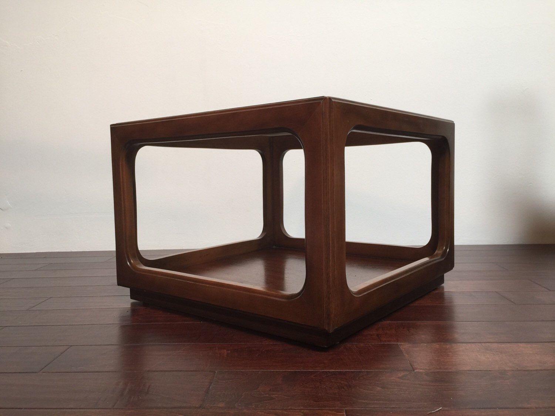 Mid Century Modern Smoked Glass End Coffee Table Vintage Lane