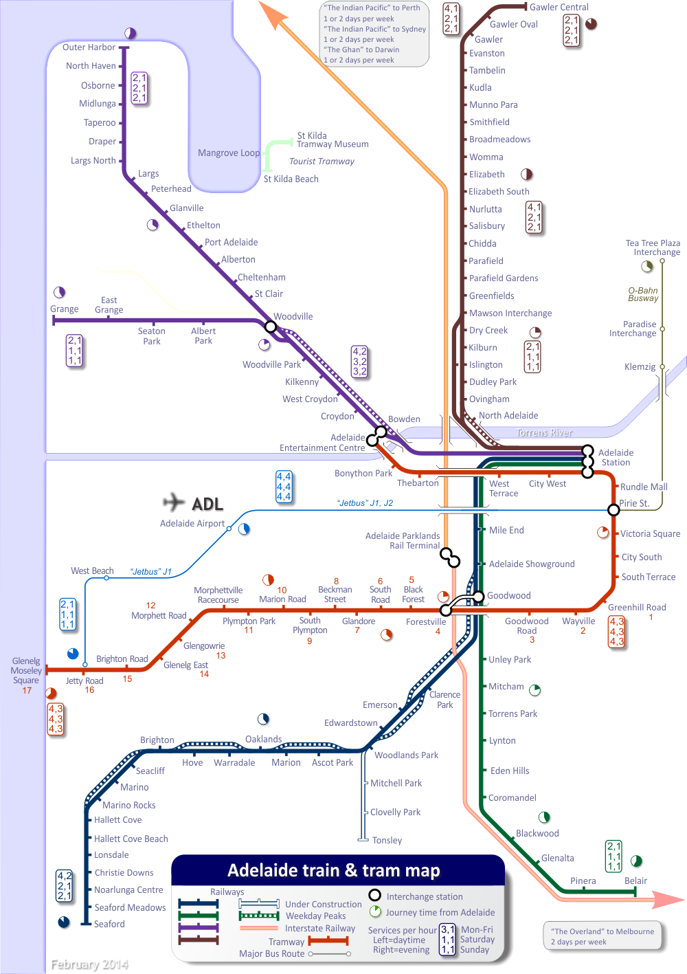 Adelaide Train Map Adelaide Train Map, including trams and some buses. | Australia  Adelaide Train Map