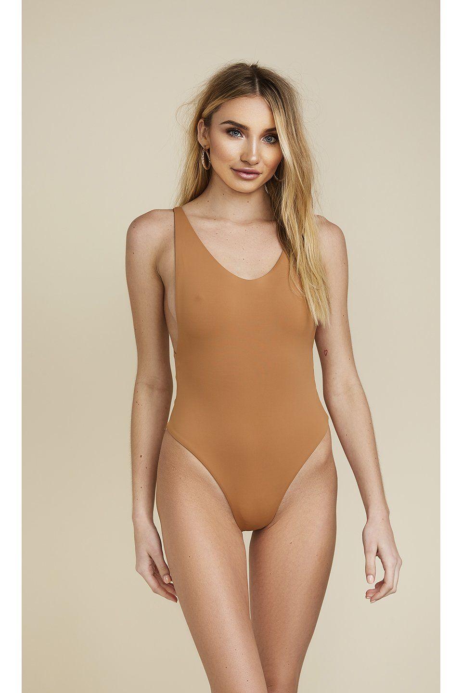 8728226b4a9a LOW BACK THONG ONE-PIECE - CARAMEL #Swimwear #bikini