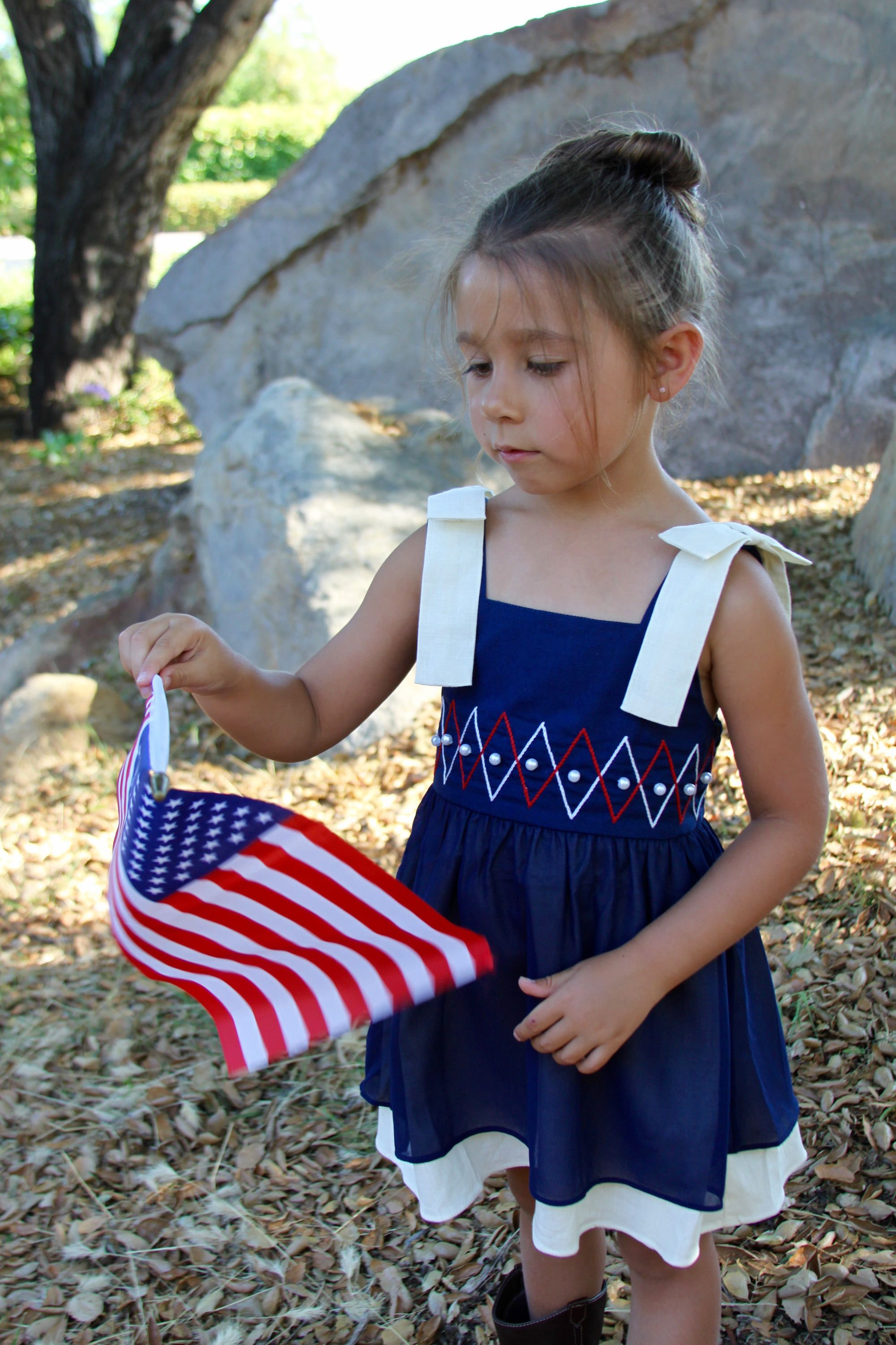 fourth of July baby girl linen dress navy white red twirl
