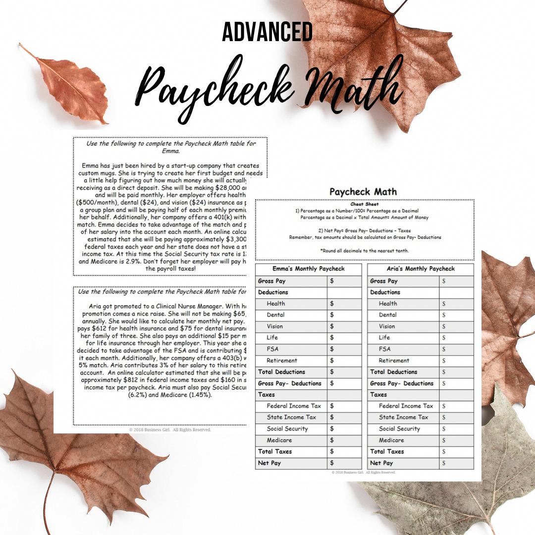 Advanced Paycheck Math For High School Students High School Students Real Life Math Math