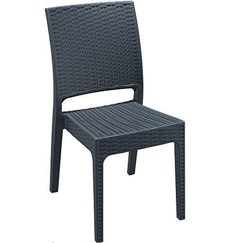 Madrid Rattan Style Reinforced Plastic Side Chair - Dark Grey ...