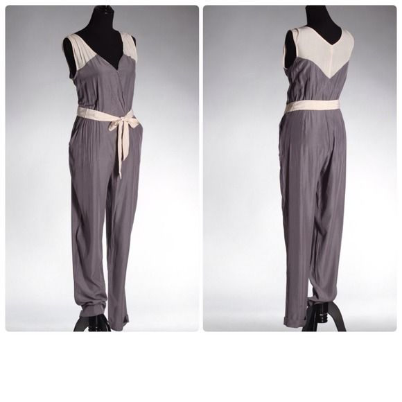 Grey and Ivory jumpsuit Beautiful lightweight grey & ivory jumpsuit. Perfect for summer. Can be worn dressed down for day or dressed up for the night! Pants Jumpsuits & Rompers
