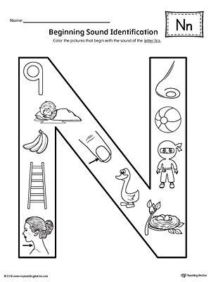 letter n beginning sound color pictures worksheet kindergarten beginning sounds phonics. Black Bedroom Furniture Sets. Home Design Ideas