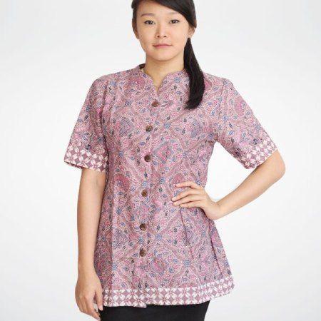 Model Baju Blus Batik Kantor Lengan Pendek Model Busana