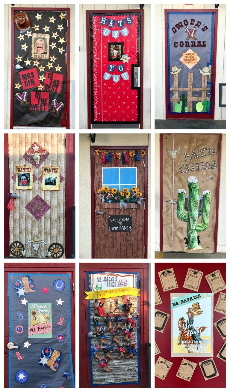 Teacher Appreciation Week Wild West Style Teacher Appreciation Doors Teacher Appreciation Door Decorations Farm Classroom Theme