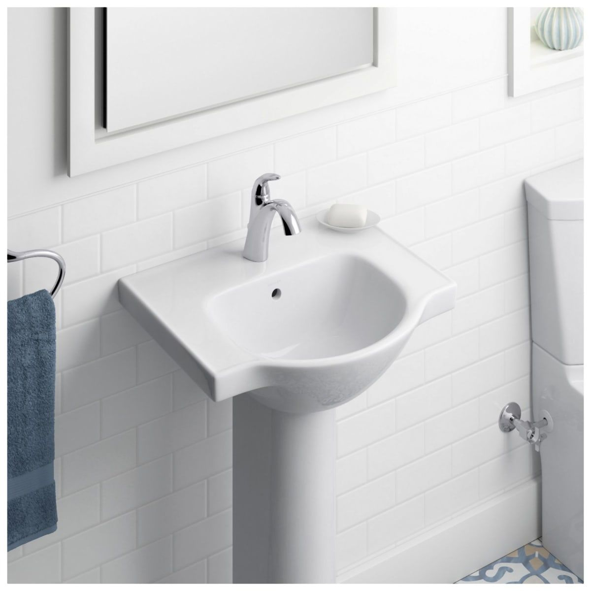 Kohler K 5247 1 0 White Veer 21 Pedestal Bathroom Sink With One