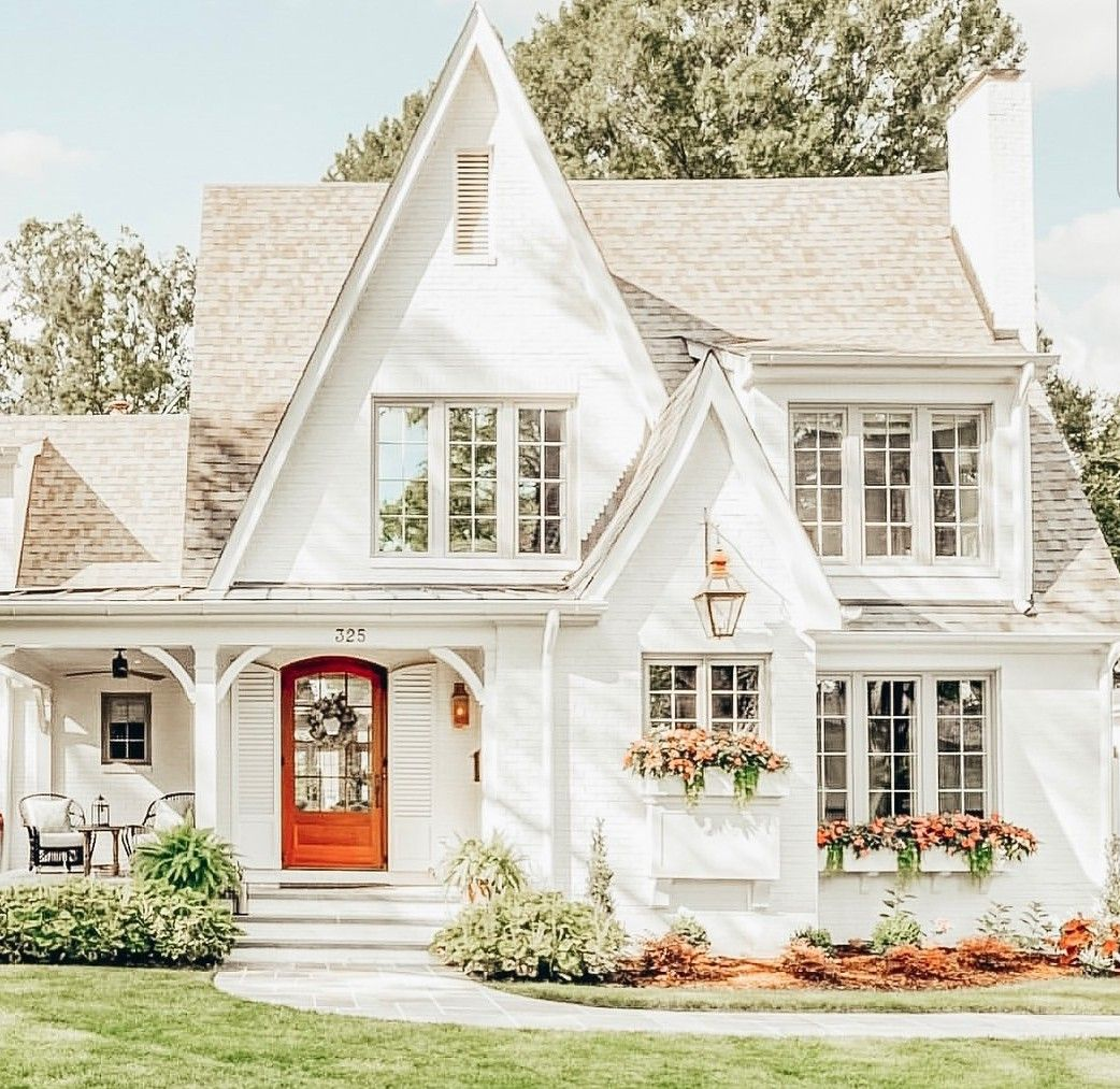 All White Two Story Home Red Door Dream House Exterior House Exterior Cottage Homes