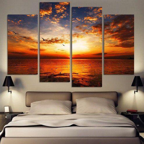 Beautiful Chilling Sunset Canvas 4 Pcs Wall Art Sunset Wall Art Sunset Canvas Mid Century Modern Wall Decor