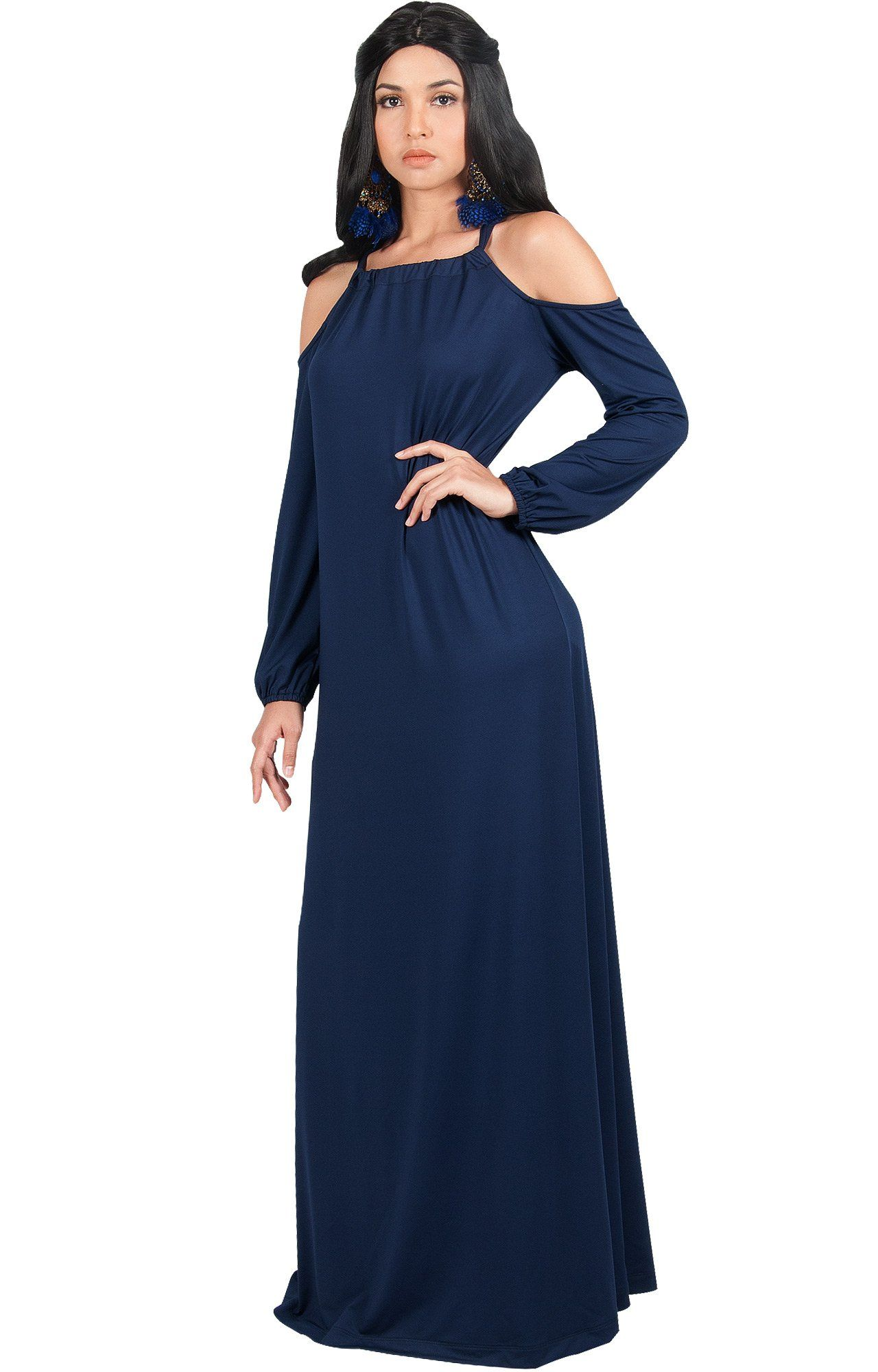 f54738a3ce KOH KOH Womens Long Sleeve Sexy Cold Shoulder Casual Cocktail Flowy Fall  Winter Evening Semi Formal