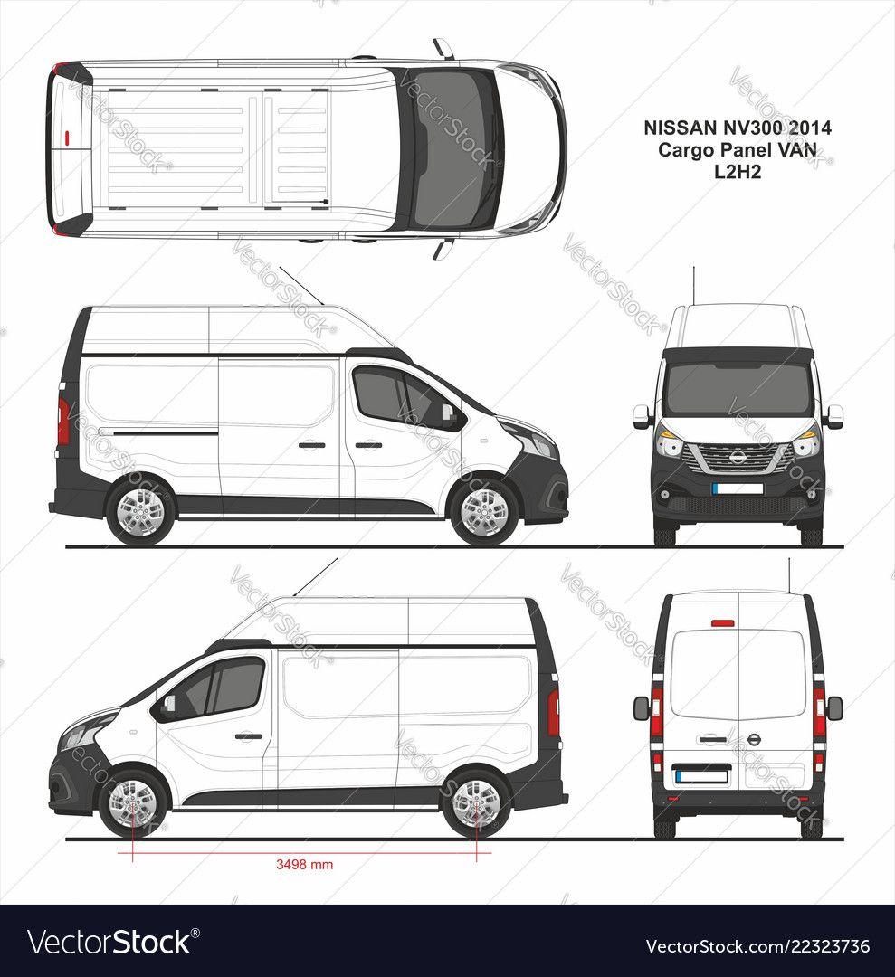 Nissan Nv300 Cargo Panel Van L2h2 Swing Rear Door High Roof 2014 Detailed Template For Design And Production Of Vehicle Wraps Carrinhos De Papelão Auto Vetores