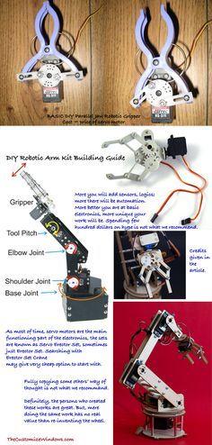 DIY Robotic Arm Kit Building Guide | zabawy | Robot arm, Arduino