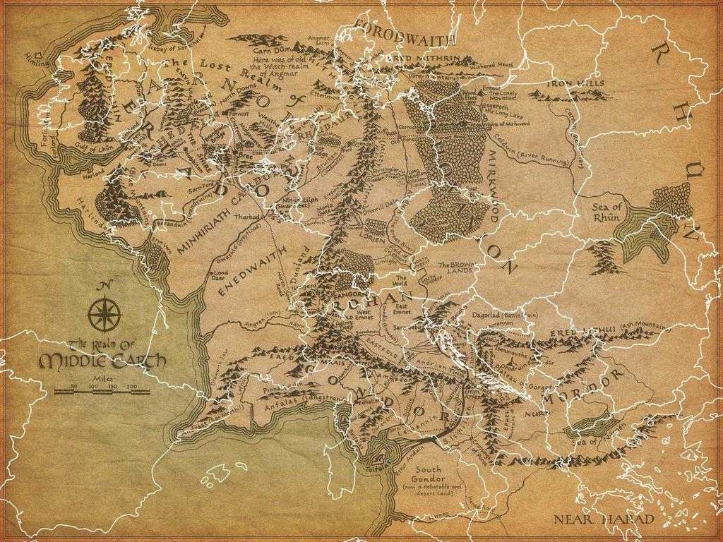 Europe overlaid on Middle Earth Europe overlaid on