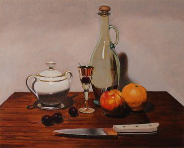 """Still Life With Knife,"" original figurative painting by artist  Mircea Jumatate (USA) available at Saatchi Art #SaatchiArt"