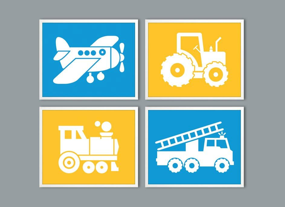 Blue Yellow Kids wall Art, tractor, plane, train Wall Art, Boys Room ...