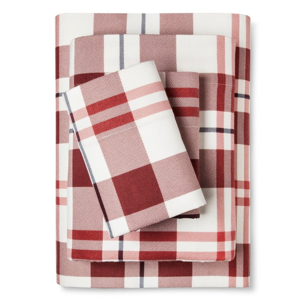 Flannel Sheet Set Cal King Red and Blue Plaid Threshold Red