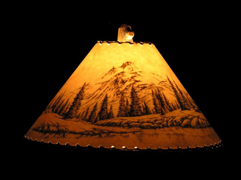Shadow Mountain Rustic Wildlife Lamp Shade The Scene Is Not Visible Until The Lamp Is Switched On Custom Shades Lamp Shade Rustic Lamp Shades Lamp Shades