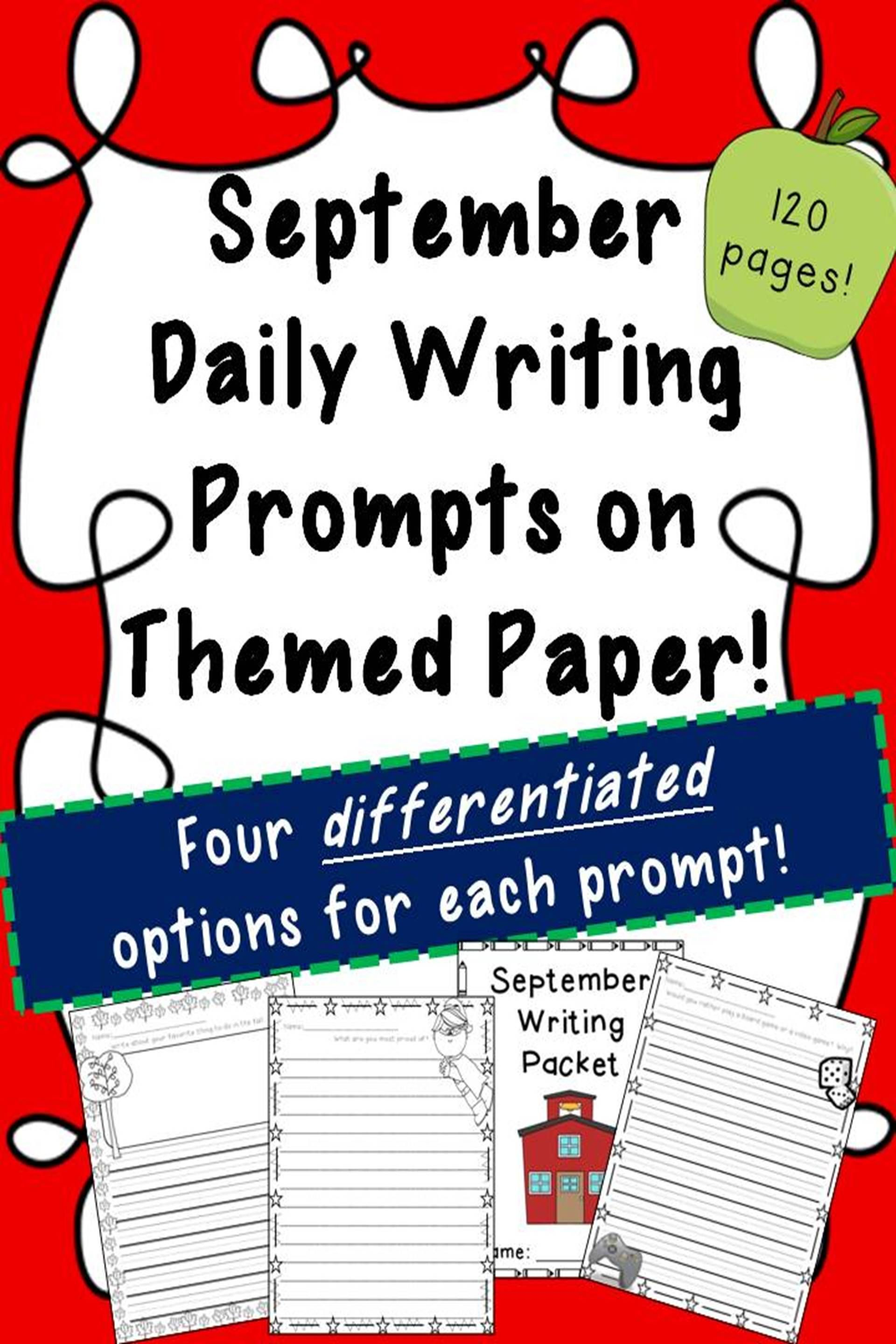 September Writing Prompts On Themed Paper 120