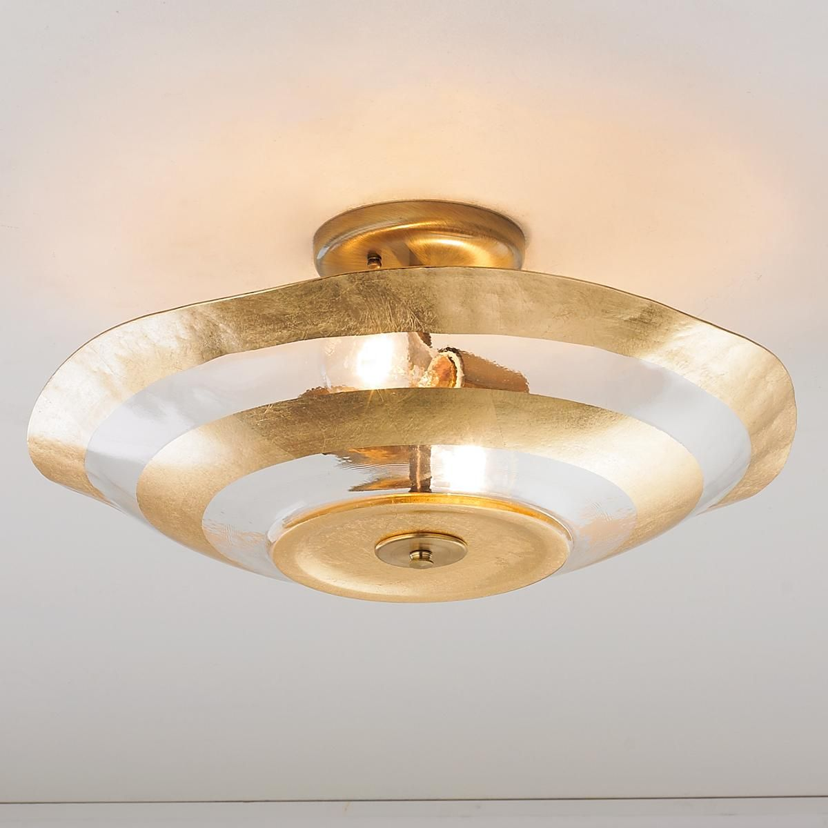 Metallic Rings Glass Ceiling Light Metallic Rings In Rich Gold Or Silver Leaf Add Sophisticated Sparkle Gold Ceiling Light Ceiling Lights Glass Ceiling Lights