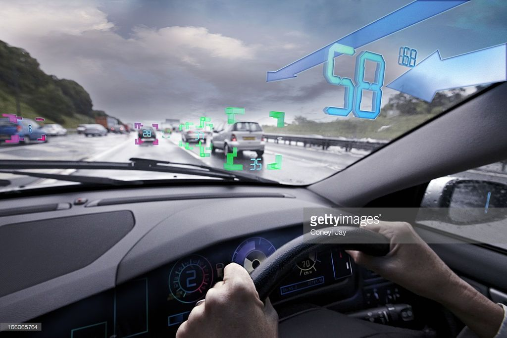 augmented reality, head up display of traffic information and hazards as seen by the driver
