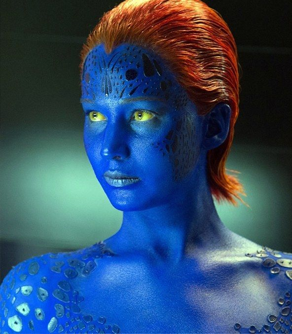 16 Images That Prove Just How Much Movie Makeup Can Change An Actor S Face Jennifer Lawrence Mystique Movie Makeup Days Of Future Past