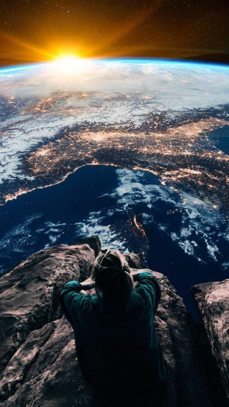 Sitting Above the Earth iPhone Wallpaper Free GetintoPik