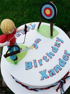9th Birthday Archery Party Cake Sugar figurine birthday boy