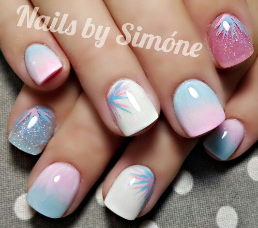 Baby Pink and Baby Blue Ombré Nails | Nails by Simóne in 2019 | Blue