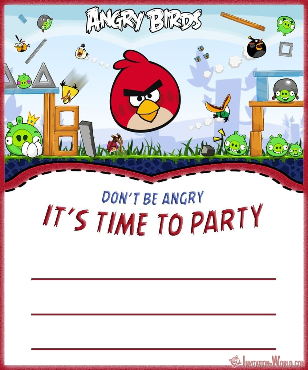 Angry Birds Invitation Templates